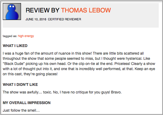 Fringe Review Sample